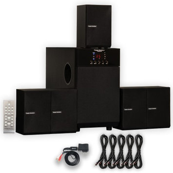 Theater Solutions TS509 Home Theater 5.1 Speaker Surround System with Bluetooth and 5 Extension Cables TS509B-5