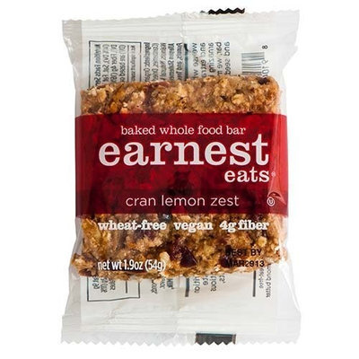 Earnest Eats 100% All-Natural Wheat-Free & Vegan Chewy Baked Energy Bars with Whole Nuts, Fruits, Seeds and Grains - Cran Lemon Zest , 1.9 Oz. Bars,(Pack of 12)