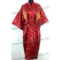 Shanghai Tone® Dragon Kimono Robe Sleepwear Burgundy One Size