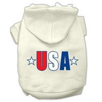 Mirage Pet Products USA Star Screen Print Pet Hoodies Cream Size Med (12)