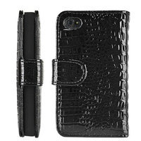 iCustomized Leegoal(TM) Black Wallet Style Magnetic Flip Textured Crocodile Leather Case with Credit Card / ID Slots for iPhone 4 4s