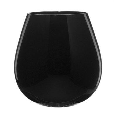 Artland Round Stemless Wine Glasses Set of 6 - Midnight Black