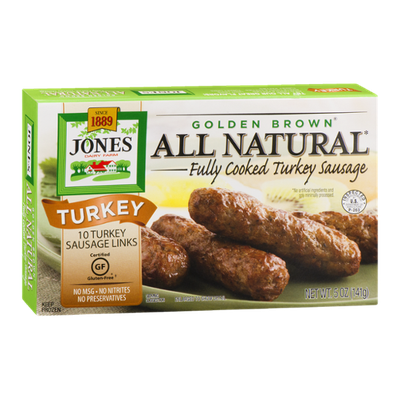 Jones Dairy Farm Golden Brown All Natural Fully Cooked Turkey Sausage Links - 10 CT