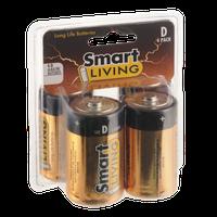 Smart Living Long Life Alkaline Batteries Size D 4 Pack