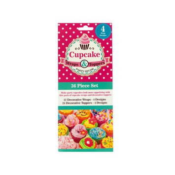 Kole Imports Decorative Cupcake Wraps and Toppers Set - Pack of 24