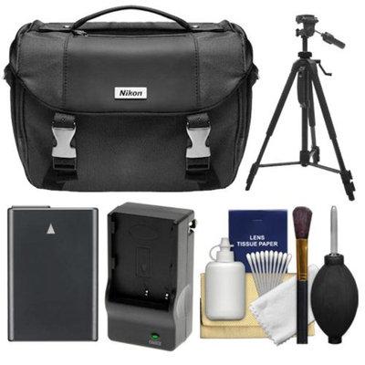 Nikon Deluxe Digital SLR Camera Case - Gadget Bag with EN-EL14 Battery + Charger + Tripod + Cleaning Kit for D3100, D3200, D3300, D5100, D5200, D5300