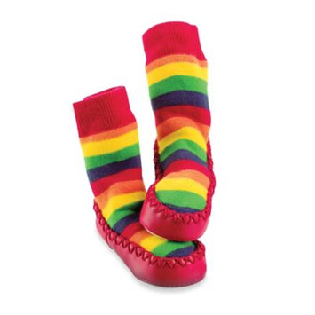 Sock-ons Sock On Mocc On Rainbow Stripe Slipper Socks in Multi