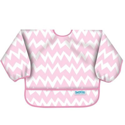 Bumkins Chevron Long Sleeve Bib in Pink/White