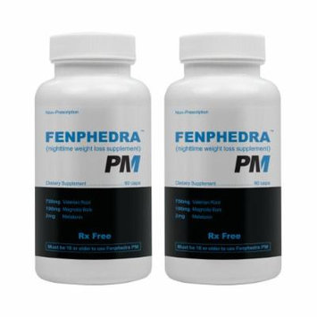 Fenphedra PM (2 Pack) - Best Diet Pill for Night Time Weight Loss - Natural Stimulant Free Ingredients to Jump Start Your Diet While You Sleep