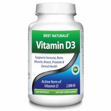Vitamin D3 Supplement by Best Naturals - GMO-free, Preservative-free, USP Grade Natural Vitamin D (240 Softgels, 2000 IU)