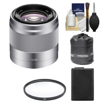 Sony Alpha NEX E-Mount 50mm f/1.8 OSS Lens (Silver) with NP-FW50 Battery + Filter + Lens Pouch Kit for A7, A7R, A7S, A3000, A5000, A5100, A6000 Camera