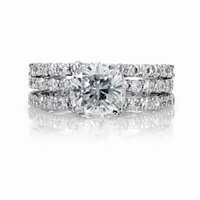 Emitations Angitas Cushion Cut CZ Wedding Ring Trio Set
