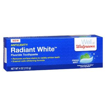 Walgreens Radiant White Fluoride Toothpaste, 4 oz