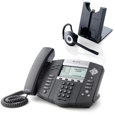 Polycom 2200-12560-001 w/ Wireless Headset VoIP Corded Phone with Included Headset