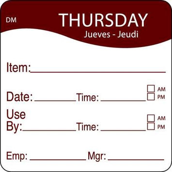 DAYMARK 1100534 Day Label, Thursday,2-3/5 In. W,PK250