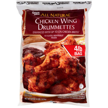 Great Value All Natural Chicken Wing Drummettes, 64 oz