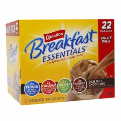 Carnation Breakfast Essentials Complete Nutritional Drink, Packets, Rich Milk Chocolate, 22 ea