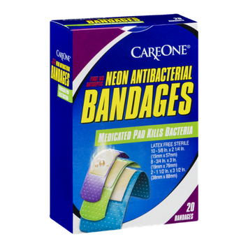 CareOne Neon Antibacterial Bandages - 20 CT