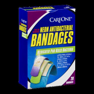 CareOne Neon Antibacterial Bandages - 20 CT