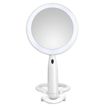 Conair LED Double Sided Plastic Mirror, 3x/1x Magnification, Round, 1 ea