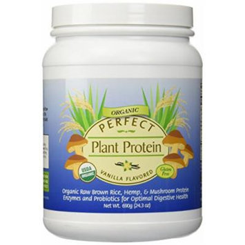 Perfect Plant based Organic Protein ~Vanilla Flavor ~ Contains Raw Organic Brown Rice, Hemp & Mushroom Protein 690g