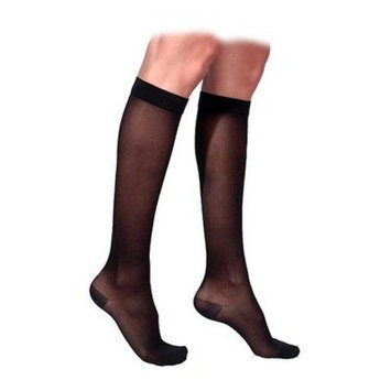 Sigvaris 770 Truly Transparent 30-40 mmHg Women's Closed Toe Knee High Sock Size: Medium Short, Color: Black Mist 14