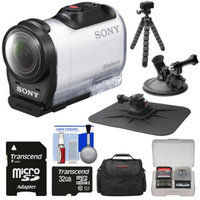 Sony Action Cam HDR-AZ1 Mini HD Video Camera Camcorder with 32GB Card + Car Suction Cup & Dashboard Mounts + Case + Flex Tripod + Kit