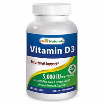 Best Naturals Vitamin D3 5000 IU Supplement, 360 Softgels
