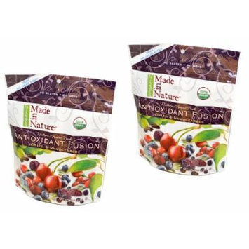 Twin Pack of Made in Nature Organic Antioxidant Fusion Dried & Unsulfured Tart Cherries, Blueberries, Goji Berries, Cranberries and Raisins Flavors No Sugar Added, No Gluten, and No Nuts - Nature's Power Pack of 24 Oz
