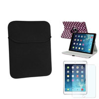 Insten INSTEN Purple/White Polka Dot 360 Stand Leather Case Cover+Pouch For Apple iPad Air 5th