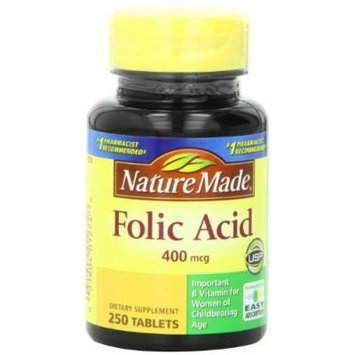 Nature Made Folic Acid 400mcg, 250 Tablets (Pack of 5)