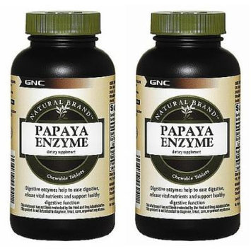 Natural Brand Papaya Enzyme -- 600 chewable Tablets (Two Bottles each of 600 Chewables)