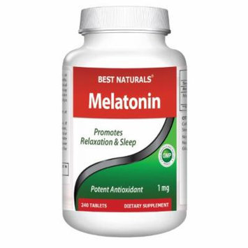 Melatonin 1mg 240 Tabs -- Maximum Strength -- Fast Dissolved for early effectiveness -- All Naturals Sleep Aid Supplement -- Manufactured in a USA Based GMP Certified Facility and Third Party Tested for Purity. Guaranteed!!