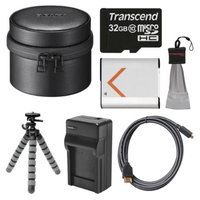 Sony LCS-BBM Carrying Case for DSC-QX10 Camera (Black) with 32GB Card + Battery & Charger + Flex Tripod + HDMI Cable