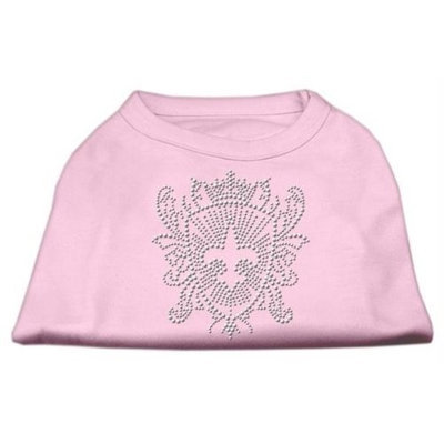 Mirage Pet Products 5232 XSLPK Rhinestone Fleur De Lis Shield Shirts Light Pink XS 8