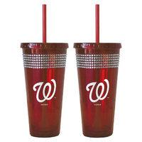 Boelter Brands MLB Mets Set of 2 Bling Straw Tumbler - 22oz