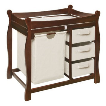 Badger Basket Changing Table with Hamper and Baskets - Cherry