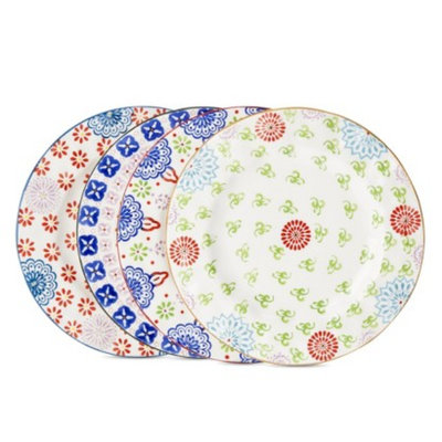Boho Boutique Floral Ceramic Salad Plate Set of 4