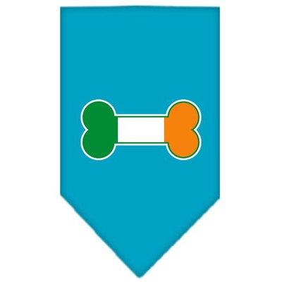 Mirage Pet Products 6617 SMTQ Bone Flag Ireland Screen Print Bandana Turquoise Small