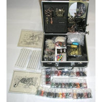 Ordertattoo.com 6 Guns Tattoo Kit LCD Digital Power Supply Needles 40 Colors 10ml Inks Brand New K7