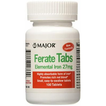 [3 PACK] FERATE® FERROUS GLUCONATE HIGH POTENTCY IRON SUPPLEMENT 100CT *COMPARE TO THE ACTIVE INGREDIENTS FOUND IN FERGON® & SAVE!!!*
