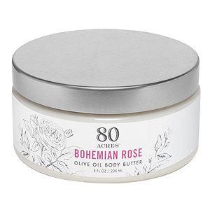 80 Acres Olive Oil Body Butter, Bohemian Rose, 8 oz