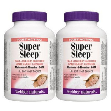 Webber Naturals Super Sleep Natural Formula for Insomnia and Anxiety 180 Tablets Twin Pack