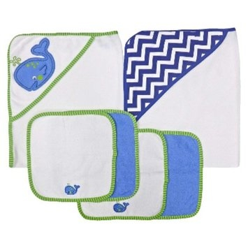 Neat Solutions 2 Hooded Baby Towels and 4 Washcloths Set - Whale