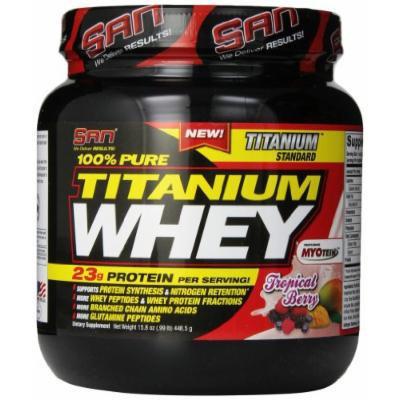 SAN 100% Pure Titanium Whey Supplement, Tropical Berry, 1 Pound