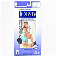 Jobst 119662 Ultrasheer PETITE Thigh Highs 30-40 mmHg Firm with Lace Silicone Top Band - Size & Color- Classic Black Large
