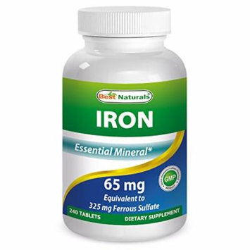 Iron 65 mg 240 Tablets by Best Naturals - Essential Mineral - Helps Maintain Energy Utilization - Manufactured in a USA Based GMP Certified Facility and Third Party Tested for Purity. Guaranteed!!