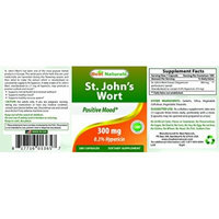 St. John's Wort Extract 300 mg 180 Capsules by Best Naturals -- Standardize to yield 0.3% Hypericin (0.9 g), 180 Capsules -- Manufactured in a USA Based GMP Certified Facility and Third Party Tested for Purity. Guaranteed!!