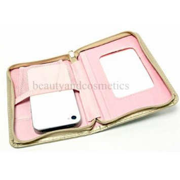 Mary Kay All Things Glamorous Faux Leather Gold Zippered Cosmetic Wallet Holder with Mirror ~ Will Hold Lipstick Lip Gloss Liner Cell Phone Brush and More!