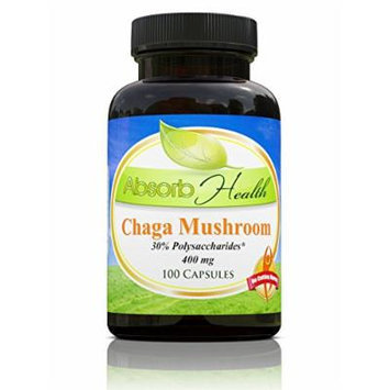 Chaga Mushroom Extract , 100 Capsules 400mg , 30% Polysaccharides , King of the Medicinal Mushrooms , Build Immune Health